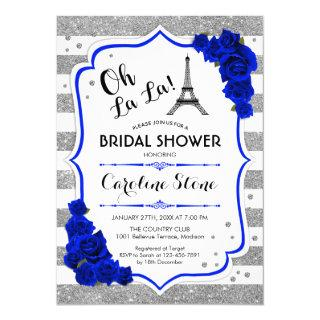Silver Royal Blue Roses French Style Bridal Shower Invitations