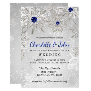 Silver Royal Blue snowflakes Winter Wedding Invitation