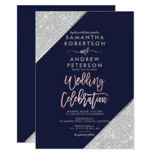 Silver sangria glitter typography navy wedding Invitations