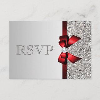 Silver Sequins Diamond Red Bow Wedding RSVP