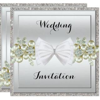 Silver Sequins & Floral Gems Glitter Bow Wedding Invitation