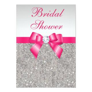 Silver Sequins Hot Pink Bow Bridal Shower Invitations