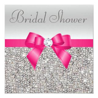 Silver Sequins Hot Pink Bow Diamond Bridal Shower Invitation