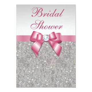 Silver Sequins Pink Bows Diamonds Bridal Shower Invitations