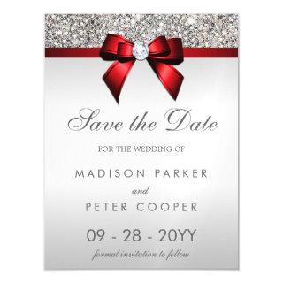 Silver Sequins Red Bow Save The Date Wedding Magnetic Invitations