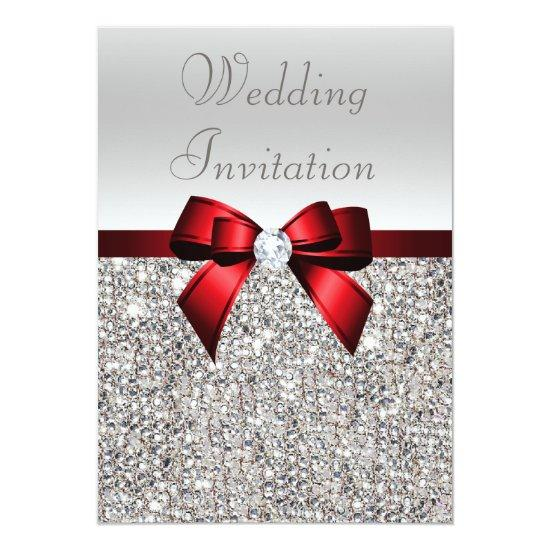 Silver Sequins Royal Red Bow and Diamond Wedding Invitations
