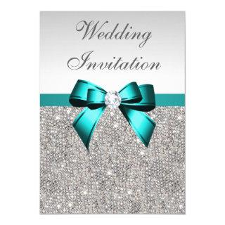 Silver Sequins Vibrant Teal Diamond Bow Wedding Invitations
