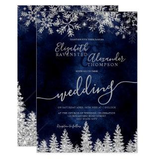 Silver snow pine navy Christmas winter wedding Invitations
