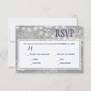 Silver Snowflake Wedding Response Meal Choice RSVP