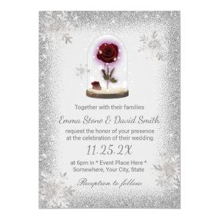 Silver Snowflakes Winter Wedding Beauty Rose Dome Invitations