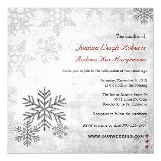 Silver Snowflakes Winter Wedding Photo Invitations