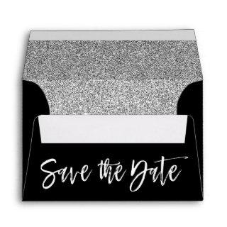 Silver Sparkle Black & White Save the Date Envelope