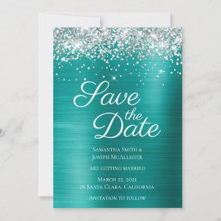 Silver Sparkly Glitter Aqua Teal Ombre Foil Save The Date