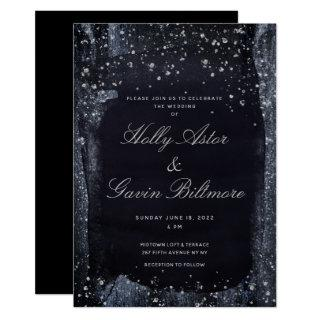 Silver Starry Night Wedding Invitation Suite