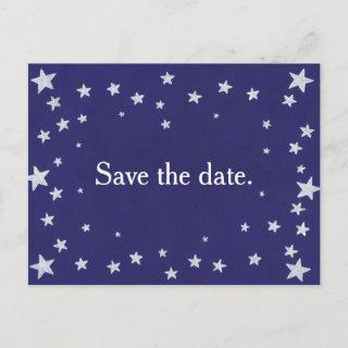 Silver Stars Navy Blue Save the date Postcard