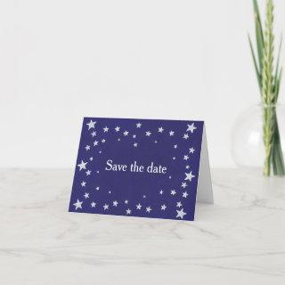 Silver Stars on Royal Navy Blue Save - Date Cards