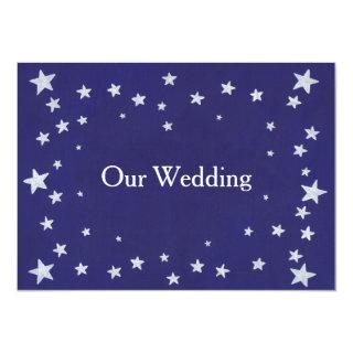 Silver Stars Royal Navy Blue Wedding Invitations