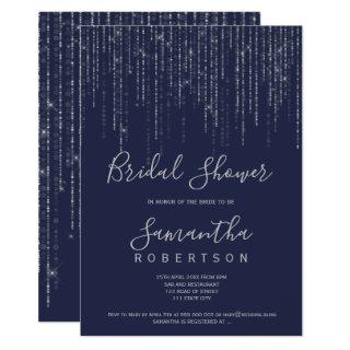Silver string lights navy blue bridal shower Invitations