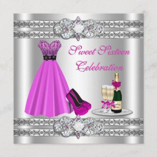 Silver Sweet Sixteen Gown Invite