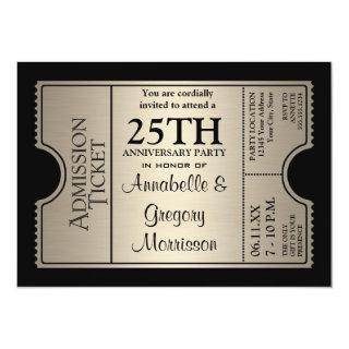 Silver Ticket Style 25th Wedding Anniversary Party Invitations