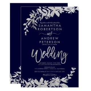 SIlver typography floral navy blue chic wedding Invitations