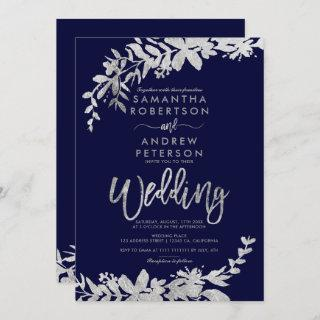 SIlver typography floral navy blue chic wedding Invitation
