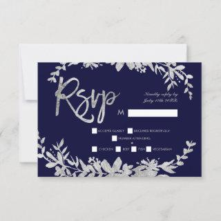 Silver typography floral navy blue rsvp wedding