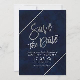 Silver typography navy watercolor save the date