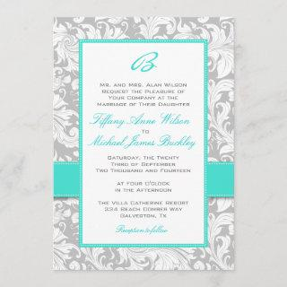Silver white damask turquoise wedding invitation