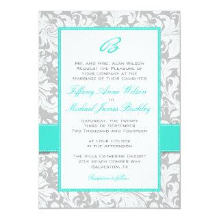 Silver white damask turquoise wedding Invitations