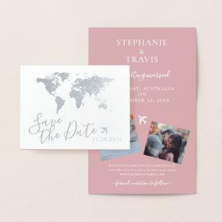Silver World Map Folded Destination Save the Date Foil Card
