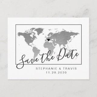 Silver World Map Modern Save the Date Postcard