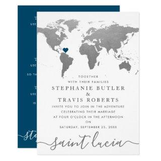 Silver World Travel Map Destination Wedding Invitations