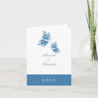 Simple Amparo Blue Butterfly RSVP Note Invitations