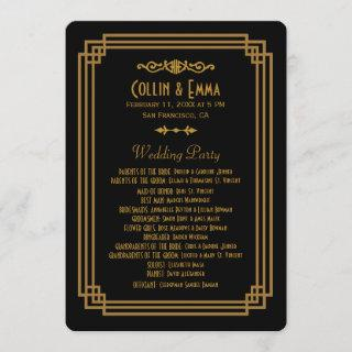 Simple Art Deco Black Wedding Programs
