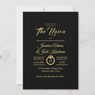 simple black and golden wedding invitation card