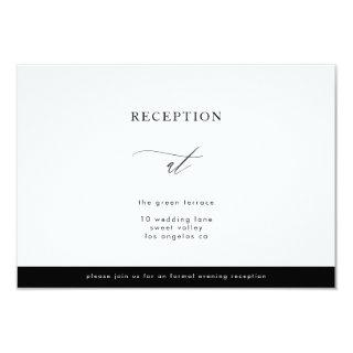Simple Black and White Modern Calli Reception Invitations