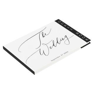 Simple Black and White Modern Calligraphy Wedding Guest Book