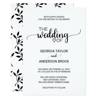 Simple Black and White Modern Calligraphy Wedding Invitations