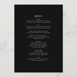 Simple Black and White Modern Calligraphy Wedding Menu