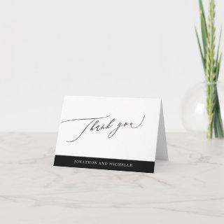 Simple Black and White Modern Calligraphy wedding Thank You Card