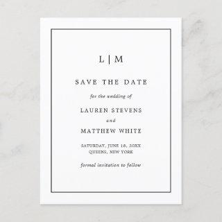 Simple Black and White Monogram Save the Date Announcement Postcard