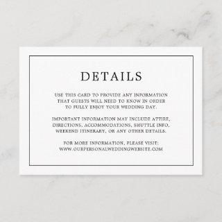 Simple Black and White Monogram Wedding Details Enclosure Card