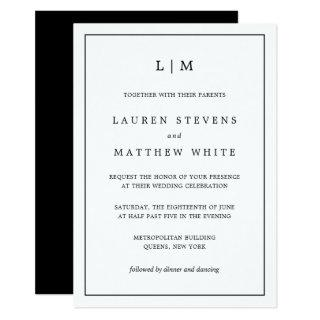 Simple Black and White Monogram Wedding Invitations