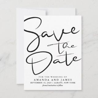 Simple Black And White Wedding Save The Date