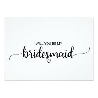 Simple Black Calligraphy Bridesmaid Proposal Invitations