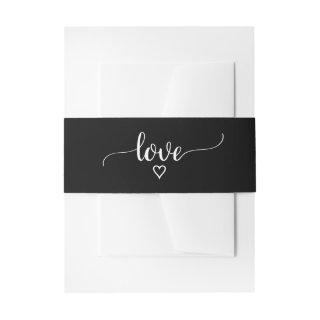 Simple Black Calligraphy Love Wedding Belly Band