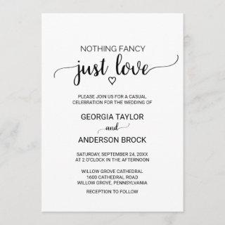Simple Black Calligraphy Nothing Fancy Just Love Invitation