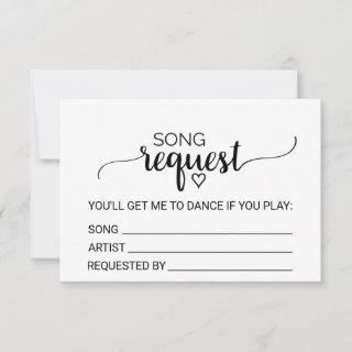 Simple Black Calligraphy Wedding Song Request