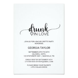 Simple Black Drunk In Love Bachelorette Party Invitations